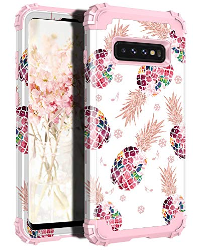 Lontect for Galaxy S10 Plus Case Floral 3 in 1 Heavy Duty Hybrid Sturdy High Impact Shockproof Protective Cover Case for Samsung Galaxy S10 Plus, Pineapple/Rose Gold