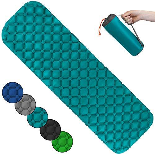 ALPIDEX Isomatte Camping Aufblasbar Ultraleichte rutschfeste Schlafmatte Luftmatratze, Farbe:Turquoise