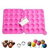 21 Stücke Cake Pop Form Set, 20 Löcher BPA Frei Silikonform Für Schokoladenherstellung, DIY Backenwerkzeuge (Rosa)