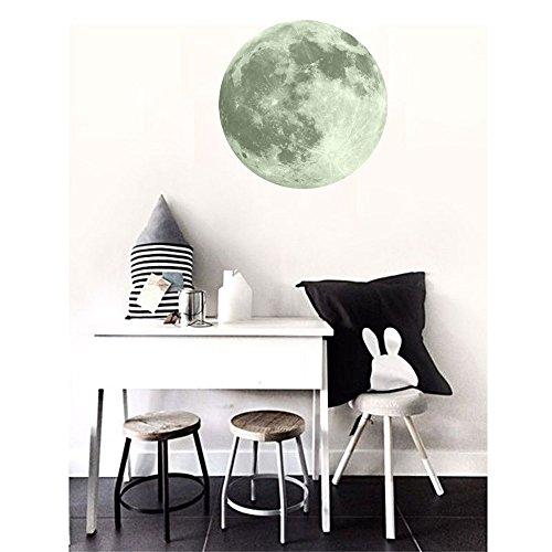 Zegeey 30cm 3D großer Mond fluoreszierender Wandaufkleber entfernbarer im Dunkeln leuchten Aufkleber