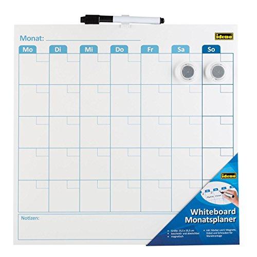 Idena 21414 Whiteboard Monatsplaner, inklusive Marker und 2 Magnete, 35,5 x 35,5 cm, 1 Stück
