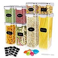 gifort contenitori alimentari per cereali set 8 pezzi, contenitori per cereali ermetici senza bpa con etichette e cucchiai, barattoli in plastica trasparente con coperchi per cereali pasta farina