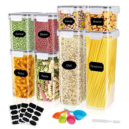 Gifort Recipientes para Cereales, Jarras de Almacenamiento de Almacenaje de Plástico Sin BPA con Etiquetas y Cucharas, Botes Cocina de Alimentos Herméticos para Cereales Harina, Pastas, café
