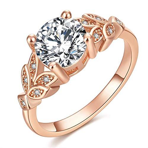 1PC Cristallo Caldo Argento Donne Anelli di Fidanzamento Foglia zircone cubico Ragazze graziose Rosa Bianca Anello d'oro Misura 6 7 8 9,7, Oro Rosa