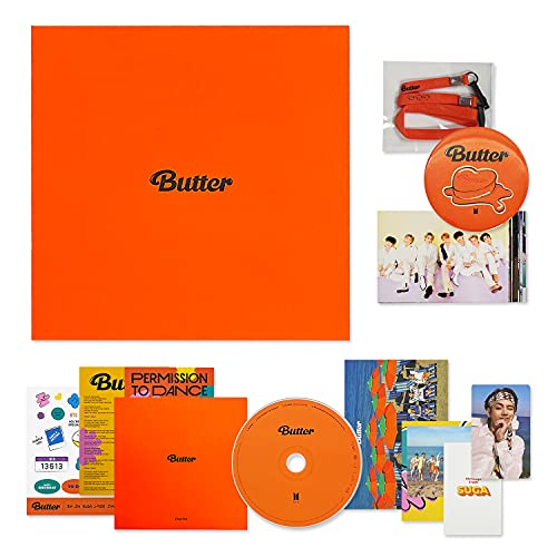 BTS Album BUTTER - [ Peaches Ver. ] CD-R + Photobook + Lyric Cards + Instant Photo Card + Photo Stand + Folded Message Card + Graphic Sticker + Photo Card + OFFICIAL POSTER