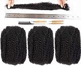 DAIXI 3 Bundles Afro Kinkys Bulk Human Hair for Dreadlocks and Twist Braiding, 50g/Bundle Full Head 100% Human Hair Soft Afro Kinky Curly Hair Bulk for Dreads with Needles and Comb (12 12 12, 1B)