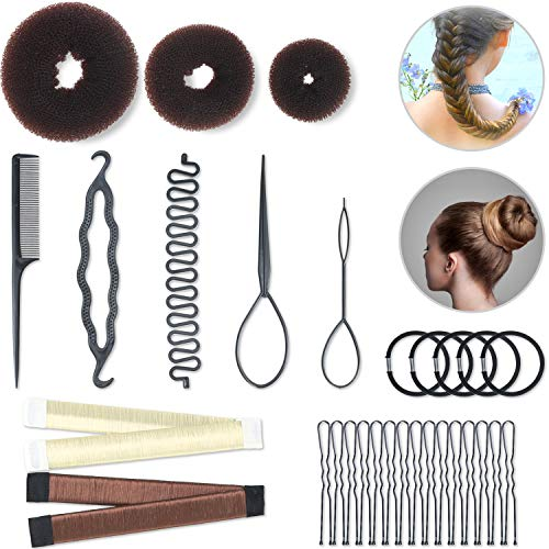 Hair Styling Set Hair Braid Tool 3 Pieces Donut Hair Bun Tool 2 Pieces French Magic Twist Hairstyle Clip Rollers 15 Pieces U-shaped Hair Pins 5 Pieces Hair Ropes for Women Girls