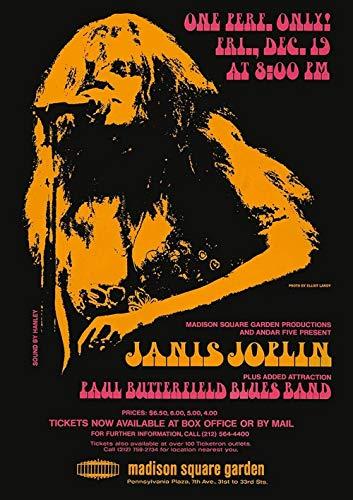 Kribee Póster de Janis Joplin Vintage Rare Band Rock Carteles de conc