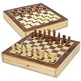 ColorBaby - Juegos de mesa ajedrez y damas 2 en 1 madera con cajón CB Games (45594)