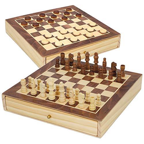 COLORBABY - Juegos de mesa ajedrez y damas 2 en 1 madera con cajón CB Games