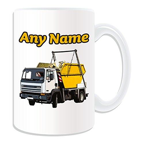 """Personalisierte Geschenkbox Skip Truck (Design \""""Transport\"""", Weiß-jeder Name/Nachricht an Ihr Einzigartiges-Miete LKW Auto KFZ LKW-Fahrer Wagon Dumpster Abfallbehälter Mülleimer"""