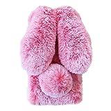 Awenroy Hase Pelz Handyhülle für Wiko View 2 Pro [ 3D Flauschiges Kaninchen ] Weicher & bequemer Plüschbezug Spaß schön Stoßfeste Hülle für Wiko View 2 Pro - Frostrosa