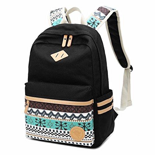 Mädchen Schulrucksack, Arimaya Damen Canvas Rucksack Jugendliche Schultaschen Grosse Kapazität Daypacks für Universität Outdoor Freizeit (Schwarz)