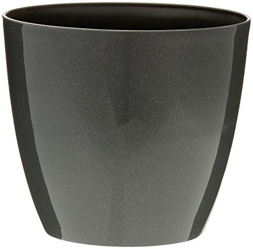 Plastkon Décoration Pot Decorative Flower Pot Ella Brillant Diamètre : 13 cm, glitzern/Anthracite/Gris