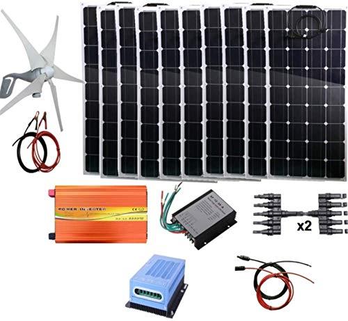 Turbina de Viento, 1,4 kW Energía Eólica Solar (1400W Sistema Híbrido): turbina...