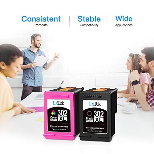 LxTek wiederaufbereitet 302XL als Ersatz für HP 302 302XL 302 XL Druckerpatronen für HP Officejet 3831 3830 5230 5220 für HP DeskJet 3630 2130 3636 für HP Envy 4520 4525 4522 (1 Schwarz, 1 Farbe)