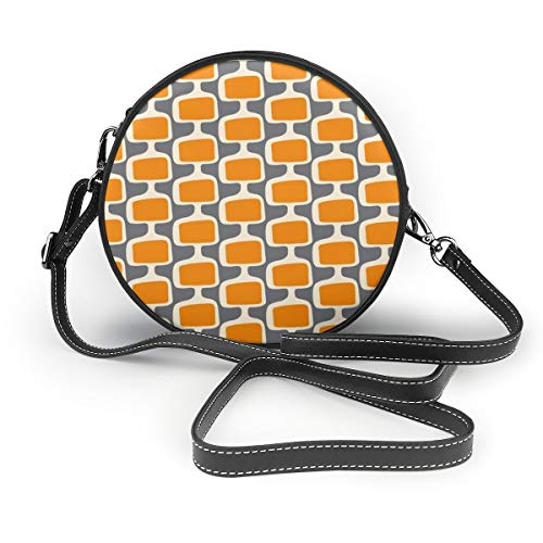 Mid-Century Modularer Tv Screens Creamsicle on Grey Round Crossbody Schultertasche Fashion Circle Crossbody Geldbörse Clutch Handtasche