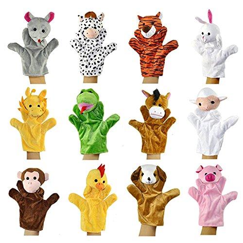 Alpacasso Conjunto de Marionetas de Mano de Felpa Animales Lindos, muñecos de Peluche de Animales de Peluche Juguetes de Animales. (Pack of 12)