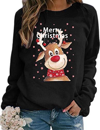 Onsoyours Weihnachten Pullover Damen, Rudolph Rentier Elfe Weihnachtspullover Kapuzenpullover Teenager Mädchen Weihnachtspulli Weihnachtsmann Christmas Sweatshirt Xmas Pulli Shirt A Schwarz L