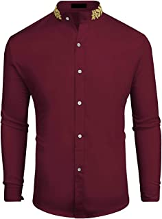 Mens Tuxedo Shirt Casual Slim Fit Long Sleeve Dress Button Down Collar Shirts Prom