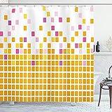 ABAKUHAUS Duschvorhang, Geometrisches Mosaik Muster Quadrate in Gelb Rosa Lila & Orange Tonen als Digital Druck, Blickdicht aus Stoff inkl. 12 Ringen Umweltfre&lich Waschbar, 175 X 200 cm