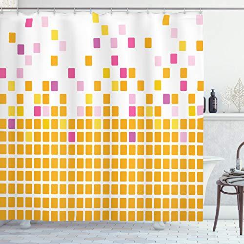 ABAKUHAUS Naranja y Rosa Cortina de Baño, Fondo de Mosaico Simple Abs