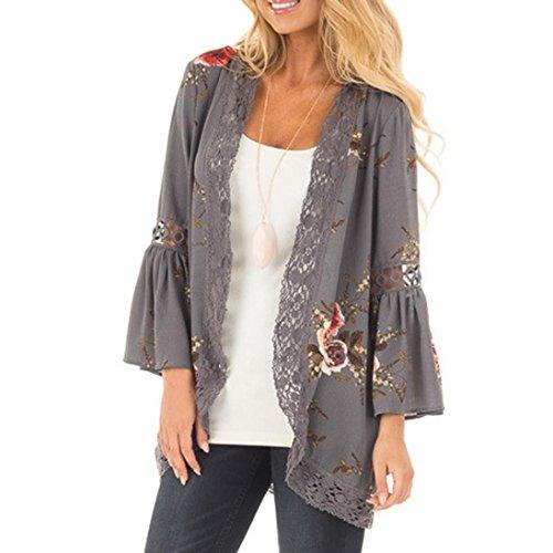 Cinnamou Cardigans de Encaje de Mujer, Abrigo Informal con Capa Abierta de Estampado Floral Blusa Suelta Kimono Chaqueta (XL-Busto:115cm/45.3')