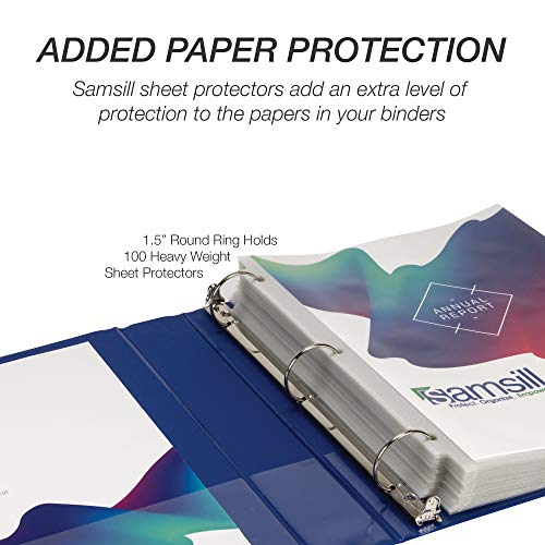 Samsill Economy 3 Ring Binder Organizer, 1.5 Inch Round Ring Binder, Customizable Clear View Cover, Blue Bulk Binder 4 Pack (MP48552) Photo #6
