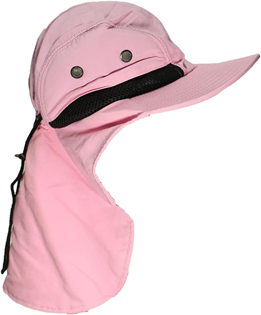 Tropic Hats Kid//Child Wide Brim Mesh Summer Cap W//Neck Flap One Size