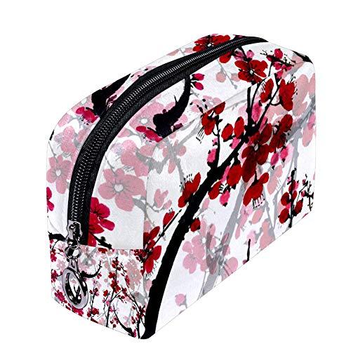 ANINILY Blossom Sakura Trousse de maquillage pour femme, petite trousse de maquillage étanche multifonction portable