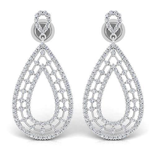 Spectrum Jewels Joyería 18K de extendido de Diamante cuelga los pendientes de gota para Unisexadulto
