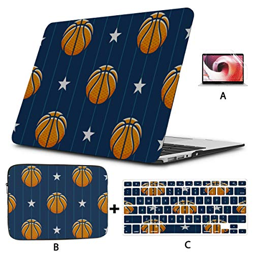 Laptop Cover Case Cute Cartoon Fashion Round Basketball 12inch Macbook Case Hard Shell Mac Air 11'/13' Pro 13'/15'/16' With Notebook Sleeve Bag For Macbook 2008-2020 Version