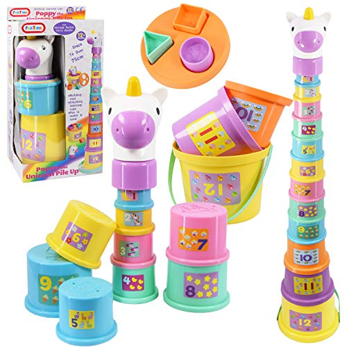 Gerry The Giraffe or Poppy The Unicorn Baby Toddler Stacking Nesting Sorting Cups Blocks Toy Activity Fun Time (Poppy The Unicorn)