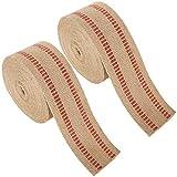 Jute-Gurtband, Naturstoff, rote Streifen, Jute, 8,9 cm x 9,1 m, für Stuhlreparatur, Basteln und Dekorationen, 2 Stück