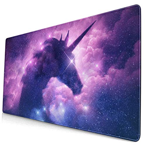 Galaxy Purple Unicorn Large Gaming Mouse Pad, Space Mouse Mat, Keyboard Pad, Office Desk Mat, Anti-Slip Rubber with Durable Stitched Edge for Office Laptop Computer PC Men Women Kids 15.7 X 30 Inch