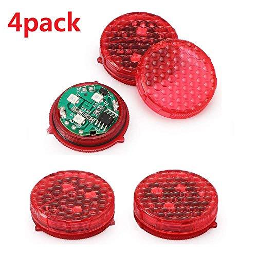 Konesky Luz de Advertencia de la Puerta del Coche Rojo Paquete de 4 Luces LED de Seguridad IP65 Luz LED de Seguridad Impermeable Bombillas anticolisión Lámpara autoadherida Auto Apagado