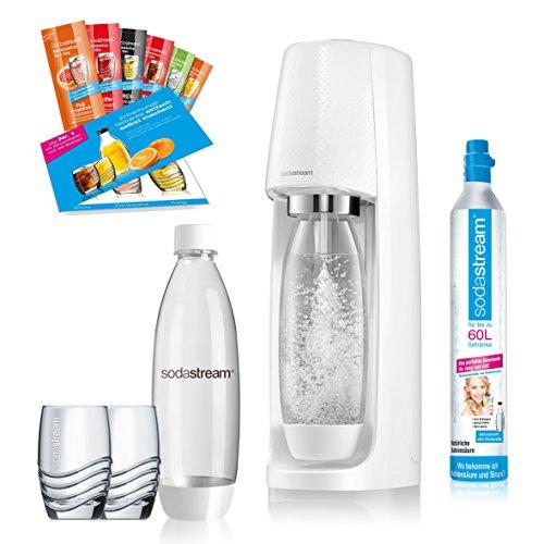SodaStream Easy Wassersprudler-Set mit CO2-Zylinder, 2x 1 L PET-Flasche, 2x Trinkgläser, 6x Sirupproben, weiß