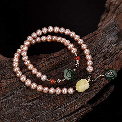 LLXXYY Damesarmband, 925 sterling zilver, parelsnoer met jaspis hanger bijenwas armbanden charme sieraden personaliseren voor vrouwen mannen baby meisje