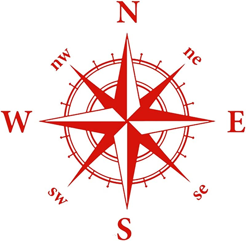 Ywbtuechars Car Stickers And Decals Stylish Compass Totem Auto Car SUV Vehicle Hood Decal Bonnet Sticker Decoration PVC Red