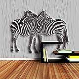 Ponana Papier Peint Brique Salle 3D Papier Peint Zèbre Noir Et Blanc Fonds D'Écran 3D Pour Murs 3 D Papier Peint Salon Living Papier Peint D-250X175Cm