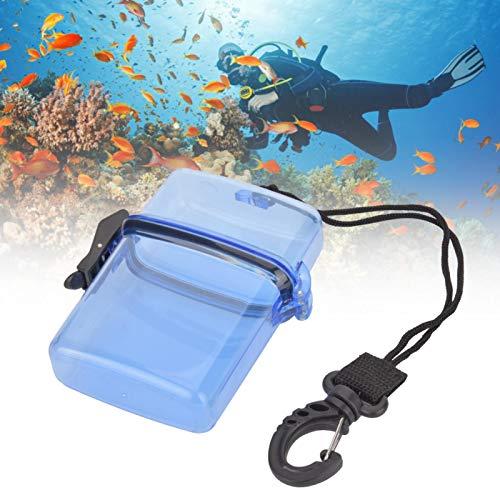 Jershal Caja Impermeable - 4.33x3.74x1.18 Pulgadas Caja de Sellado de Buceo Submarino Transparente de plástico con Gancho de Cuerda para natación en la Playa Navegación Pesca Senderismo(Azul)