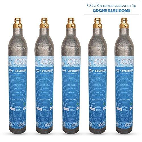 Neues Wasser Group 5x Cylindre de CO2Bouteille CO2Convient pour Eau Potable Système Grohe Blue Home. Nouveau et rempli de CO2.