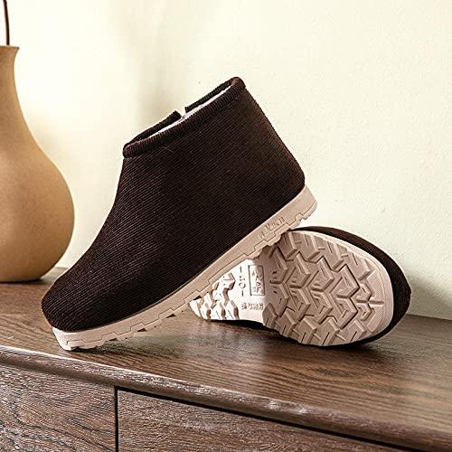 Zapatillas de invierno para interior y exterior,Pantuflas de algodón térmico antideslizantes, pantuflas de suela gruesa resistentes al desgaste-marrón_39,Pantuflas cálidas Pantuflas ligeras y suaves