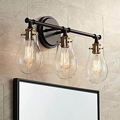"Simran Vintage Industrial Wall Light Bronze Brass Hardwired 22"" Wide 3-Light Fixture Clear Glass for Bathroom Vanity Mirror - Possini Euro Design"