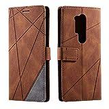 Hülle für OnePlus 8 Pro, SONWO Premium Leder PU Handyhülle Flip Hülle Wallet Silikon Bumper Schutzhülle Klapphülle für OnePlus 8 Pro, Braun