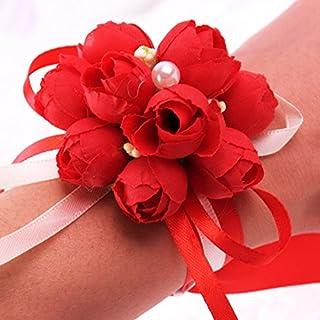 RaiFu 手首コサージュ パーティー プロムリボン 手の花の装飾 花嫁介添人のウェディング用品 レッド