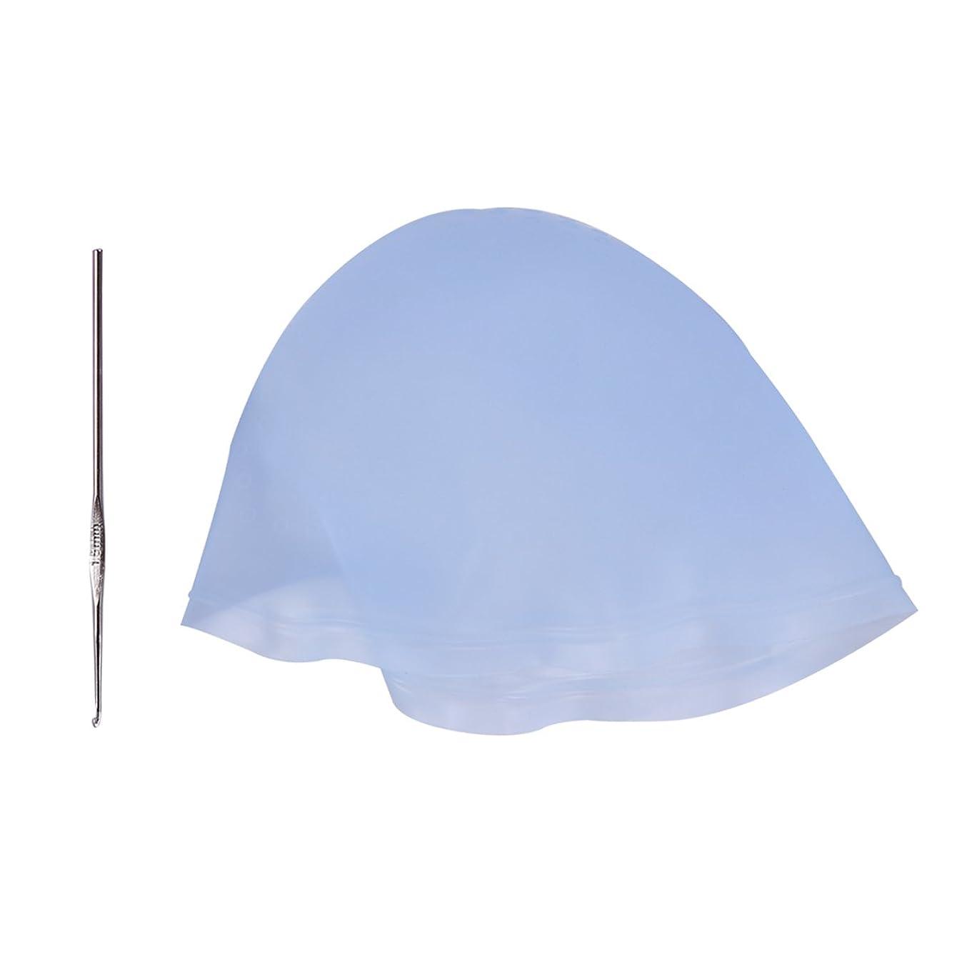 多分知り合いになるROSENICE フックヘア再利用可能な染色用カラーツール(スカイブルー)付きシリコーンサロンダイキャップ