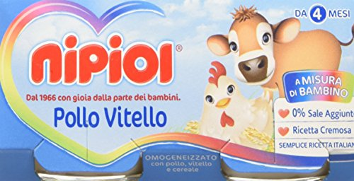 Nipiol Omogeneizzato Carne, Vitello e Pollo - 24 Vasetti da 80 gr