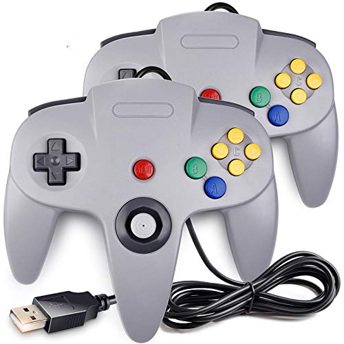 2 Pack Classic N64 Controller, SAFFUN N64 Wired USB PC Game pad Joystick, N64 Bit USB Wired Game Stick Joy pad Controller for Windows PC MAC Linux Raspberry Pi 3 Genesis Higan