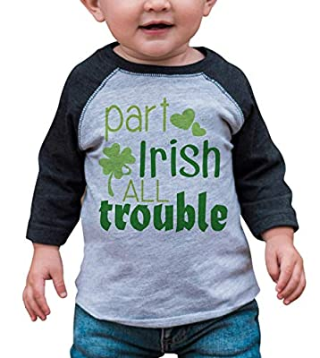7 ate 9 Apparel Boy's St. Patrick's Day Vintage Baseball Tee 3T Months Grey and Green